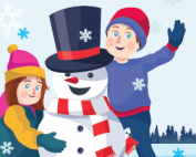 happy snowman with a boy and a girl