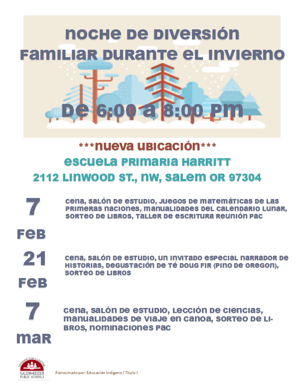 (Spanish) Winter Family Fun Nights 6pm-8pm February 7, 21 & March 7